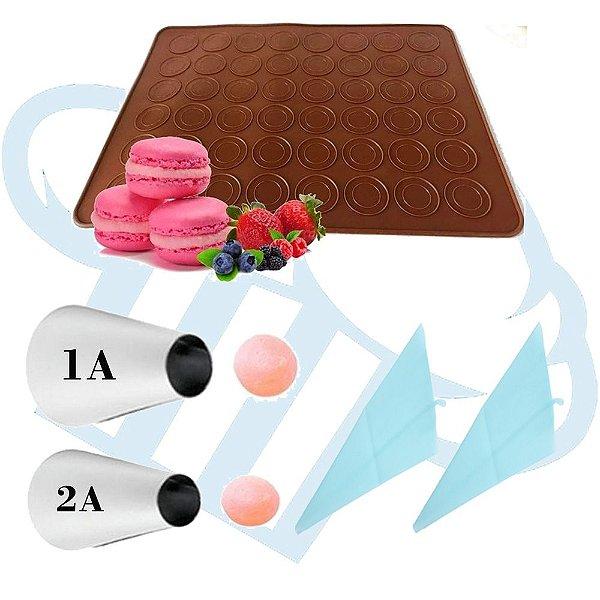Kit Tapete em silicone com 48 cavidades para confecção de macarons, woops e bem casados