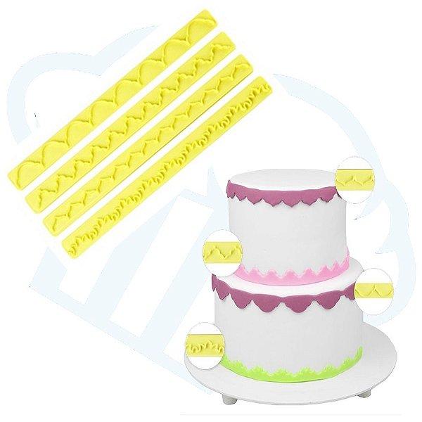 Kit Reguas Decorativas De Babados Pasta Americana Confeitar