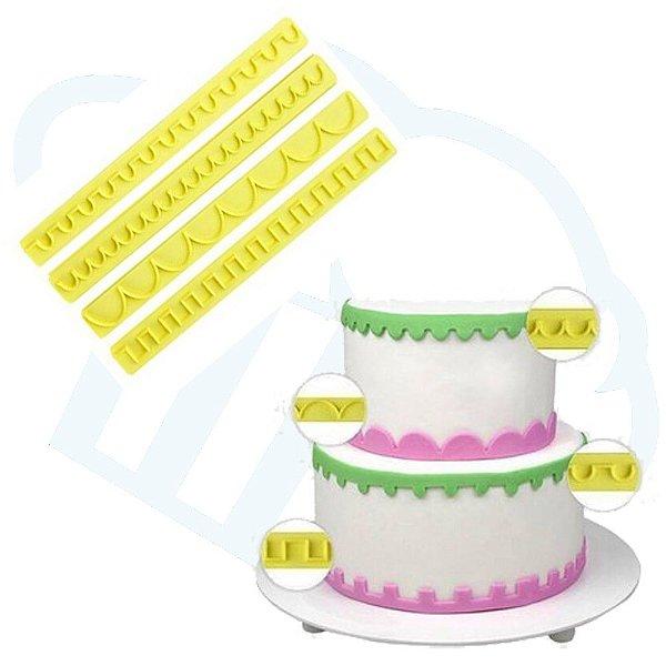 Kit Reguas De Babados Decorativas Pasta Americana Confeitar