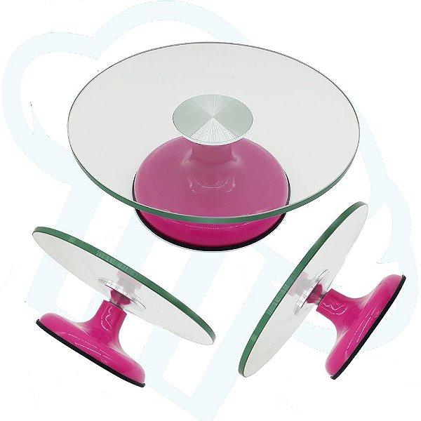 Bailarina Luxo de Vidro Pink Giratória Com Rolamento Duplo