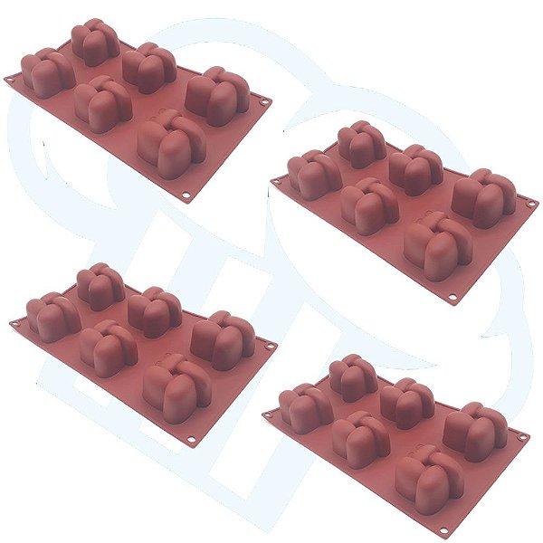 Kit 4 Formas De Silicone Vertice Doces Finos Chocolate