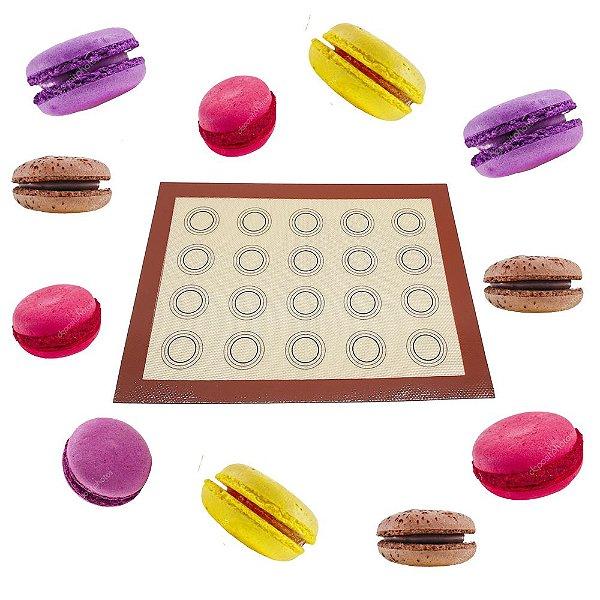 Tapete Silicone Com Dupla com 20 Marcações Macarons