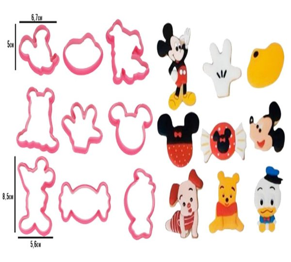 Cortadores Biscoitos E Massas Confeitaria Personagens Mickey