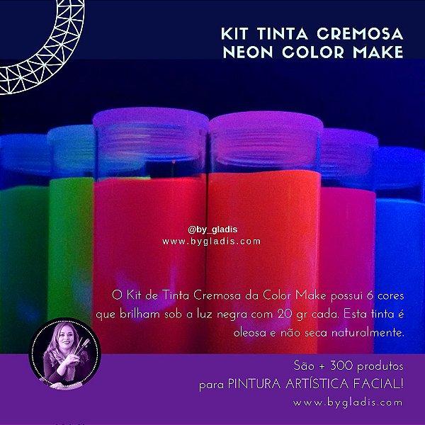 Kit Tinta Cremosa Facial e Corporal Maquiagem Artística Flúor Color Make 20 gr Tubo| 6 cores - Neon