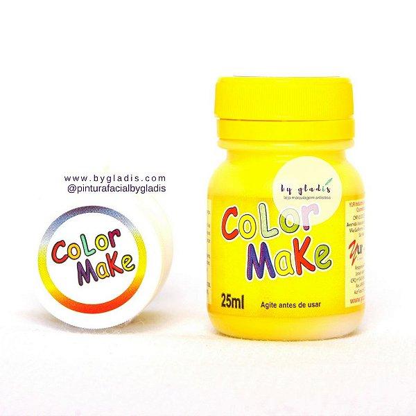 Tinta Líquida Pintura Facial e Corporal Color Make 25 ML  amarela - amarelo