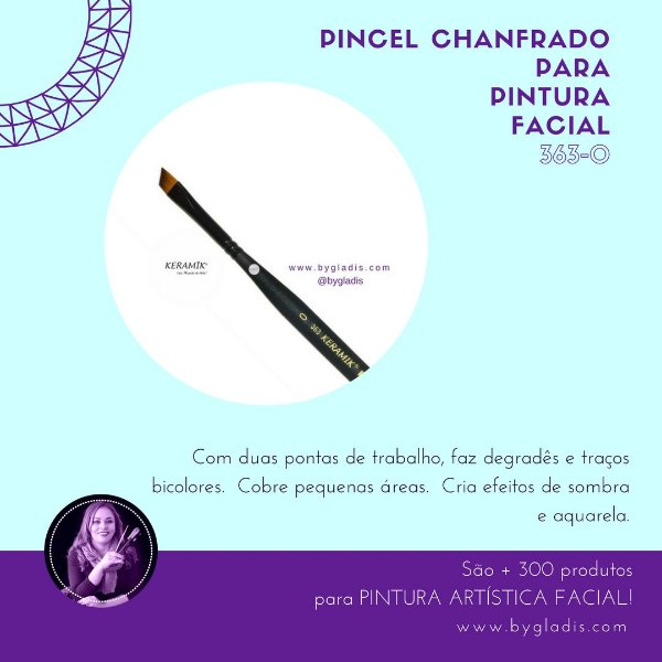 Pincel Chanfrado Keramik para Pintura Facial | #363-0 Linha Mini Brush