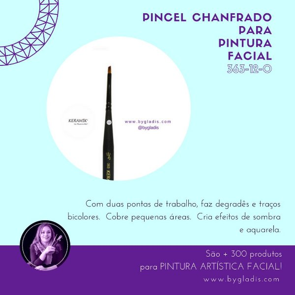 Pincel Chanfrado Keramik para Pintura Facial | 363 #12-0 Linha Mini Brush