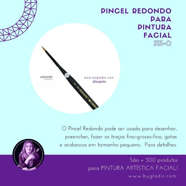 Pincel Redondo Keramik para Pintura Facial | 313 #0 Linha Mini Brush