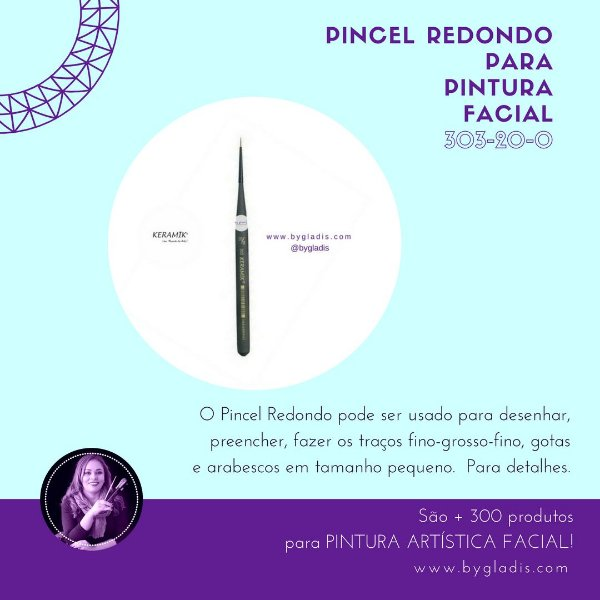 Pincel Redondo Keramik para Pintura Facial | 303 #20-0 Linha Mini Brush