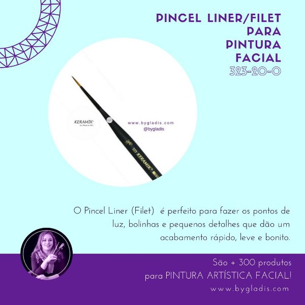 Pincel Liner - Filet Keramik para Pintura Facial |#323-20-0 Linha Mini Brush