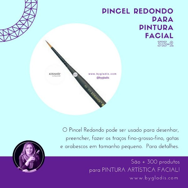 Pincel Redondo Keramik para Pintura Facial | 313 #2 Linha Mini Brush