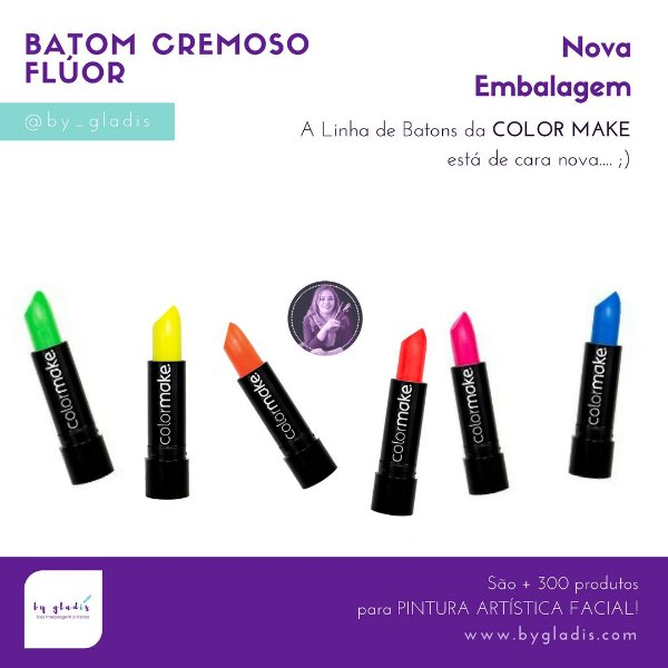 Kit de Batom Cremoso Flúor Color Make | 6 Cores - Neon - Fluorescente