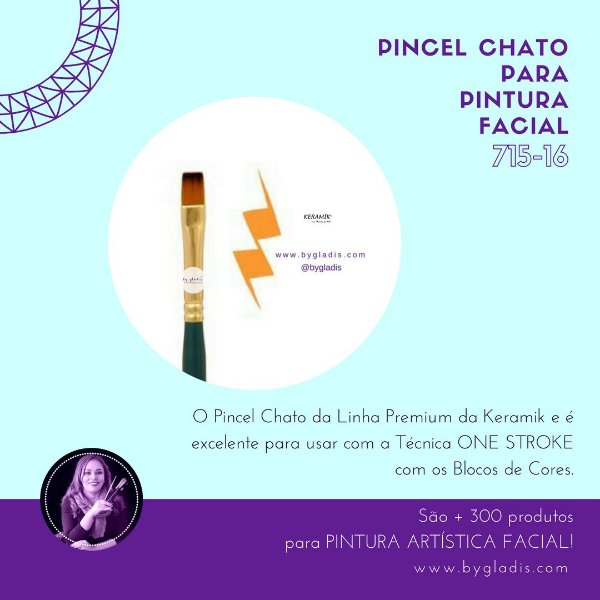 Pincel Chato Keramik para Pintura Facial ONE STROKE | 715-16 Linha Premium