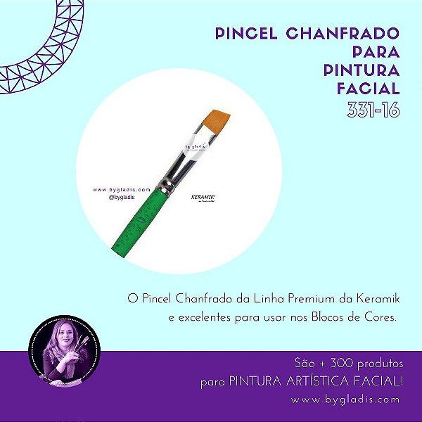 Pincel Chanfrado Keramik para Pintura Facial ONE STROKE | 331-16 Linha Básica
