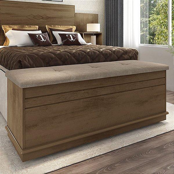 Baú para quarto com almofada capitonê para sapatos ou enxoval 136 cm