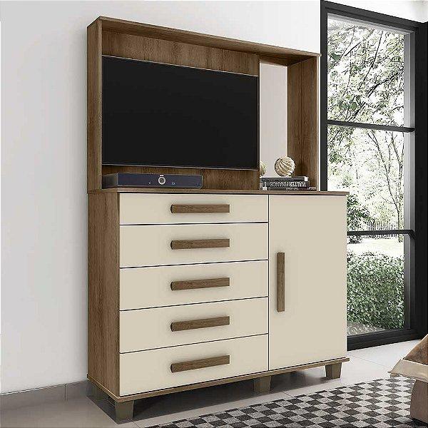 Cômoda com painel de tv estante 5 gavetas 1 porta com espelho altura 184 cm largura 136 cm - Munique