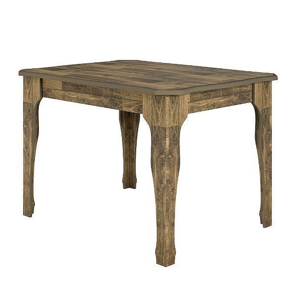 mesa de jantar 4 lugares retangular 120 x 90 cm estilo luis xv cor marrom rústico