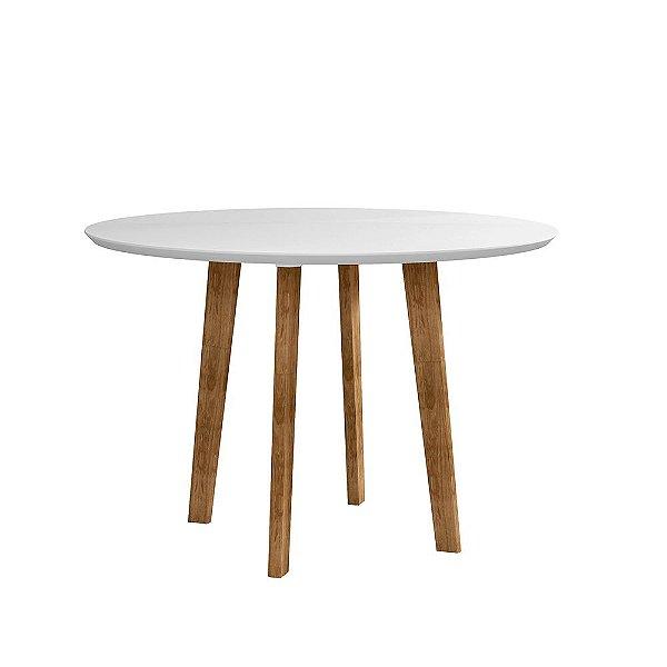 mesa de cozinha ou jantar pequena redonda com vidro altura 78 cm diâmetro 108 cm pé palito branca