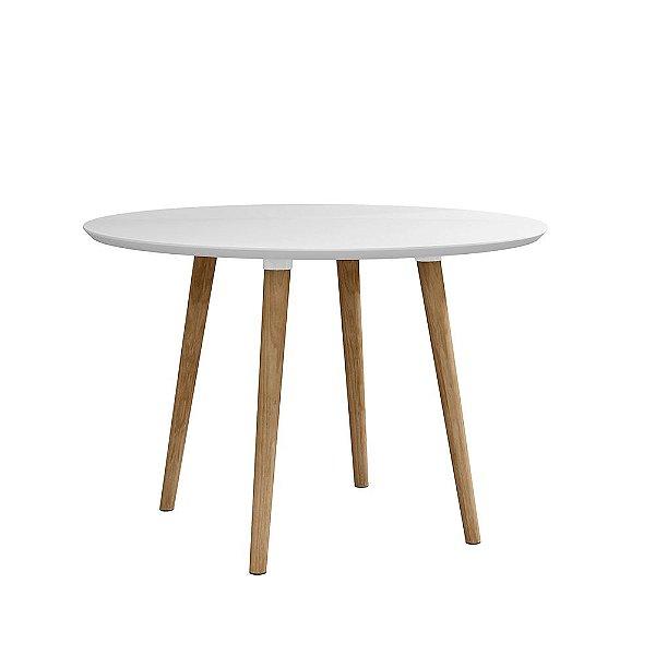 mesa de cozinha ou jantar pequena redonda altura 78 cm diâmetro 108 cm pé palito com vidro branca