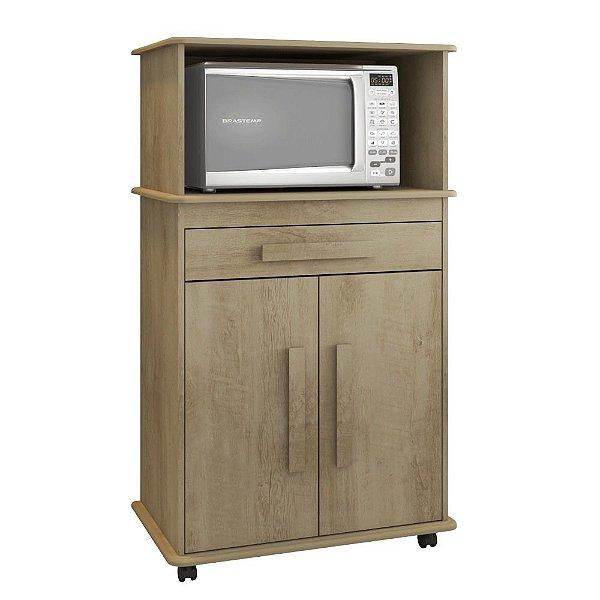 armário de cozinha multiuso 2 portas com nicho para microondas com rodas altura 130 cm