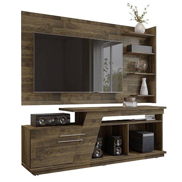 kit rack retro com porta com Painel de TV suspenso de parede largura 183 cm 4 prateleiras rústico