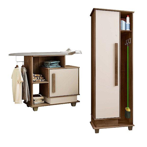 kit com armario de lavanderia + tabua de passar com armario