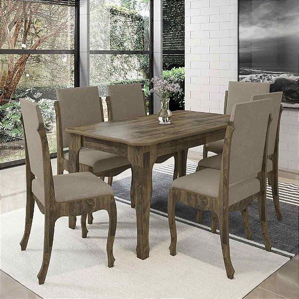 jogo mesa de jantar mais 6 cadeiras estofadas 160 x 90 cm estilo luis XV