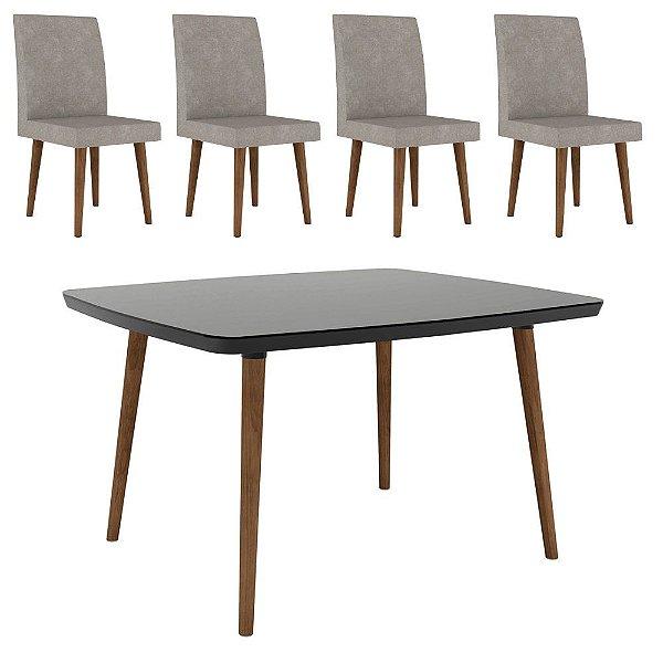 jogo de mesa de jantar ou cozinha mais 4 cadeiras estofadas pé palito madeira 120 x 90 cm