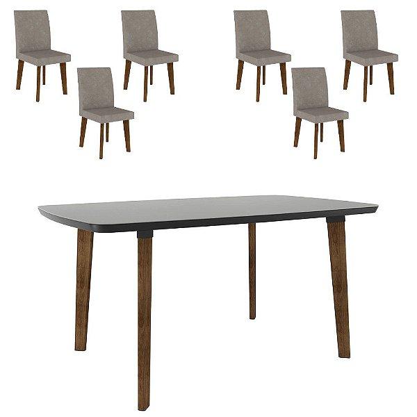 kit mesa de jantar mais 6 cadeiras estofadas pé palito madeira 170 x 90 cm