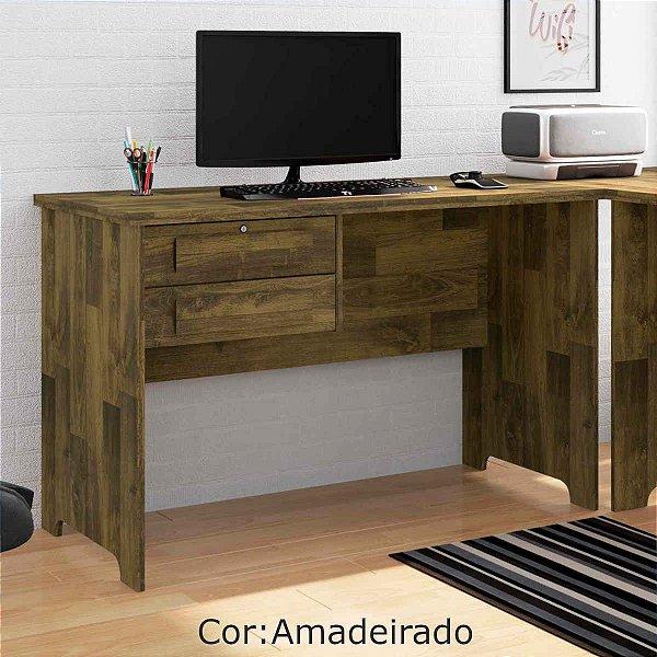 Mesa Escrivaninha de Madeira para Escritório com 2 Gavetas