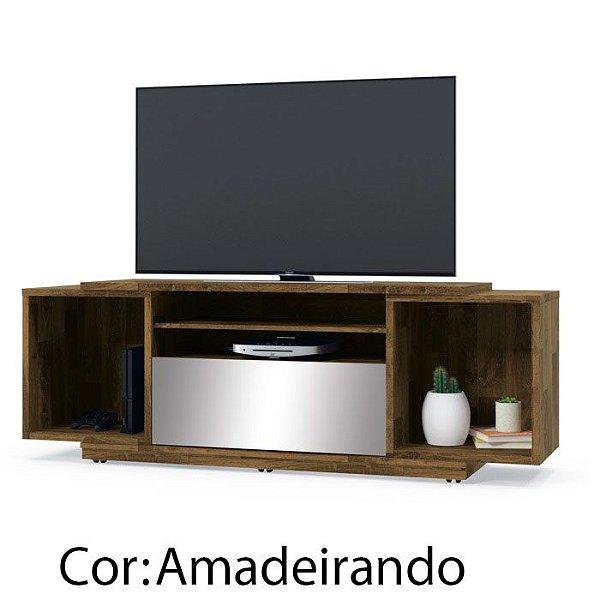 Rack de madeira para Sala de Estar e TV com gaveta espelhada