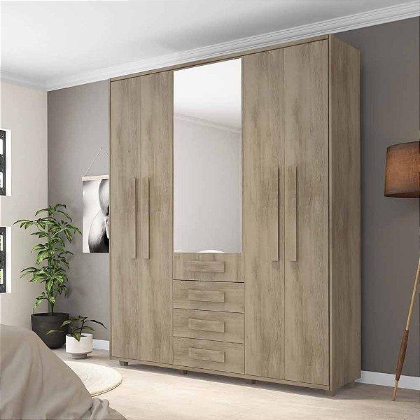 Armário guarda-roupas de madeira com 5 portas e 4 gavetas
