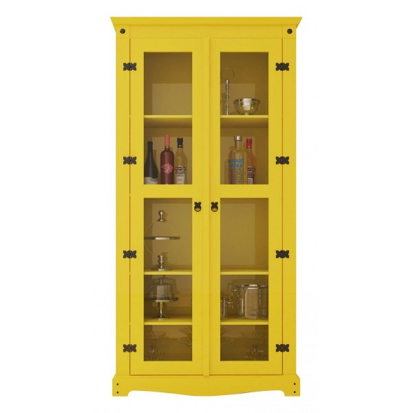 Cristaleira Decorativa Amarela