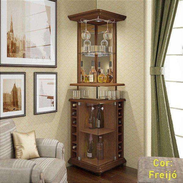 Barzinho de canto para sala de estar com adega para garrafas
