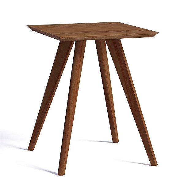 mesa de canto quadrada com pe palito 53 cm