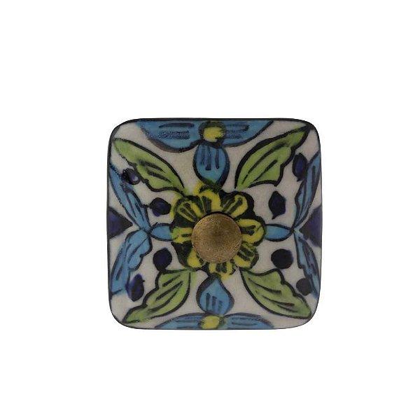 Puxador Decorativo de Cerâmica Artesanal Quadrado 40 mm - 001702