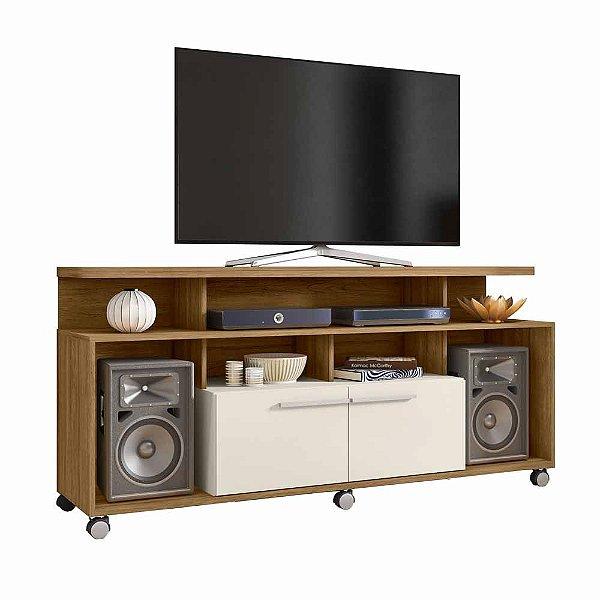 Rack Retro de TV para Sala de Estar Largura 160 cm com Rodas 2 Portas