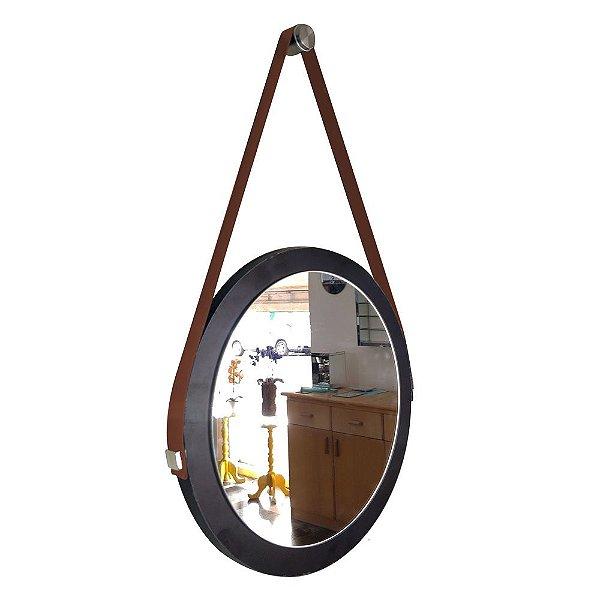 Espelho Adnet Decorativo Redondo de Parede com Alça de Couro Diâmetro 28 cm preto e marrom