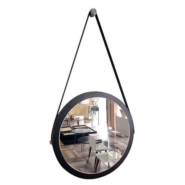 Espelho Adnet Decorativo Redondo de Parede com Alça de Couro Diâmetro 38 cm preto