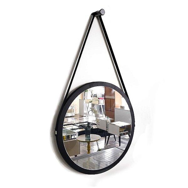 Espelho Adnet Decorativo Redondo de Parede com Alça de Couro Diâmetro 58 cm preto
