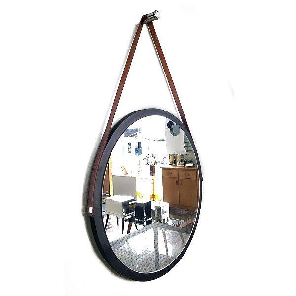 Espelho Adnet Decorativo Redondo de Parede com Alça de Couro Diâmetro 58 cm preto e marrom