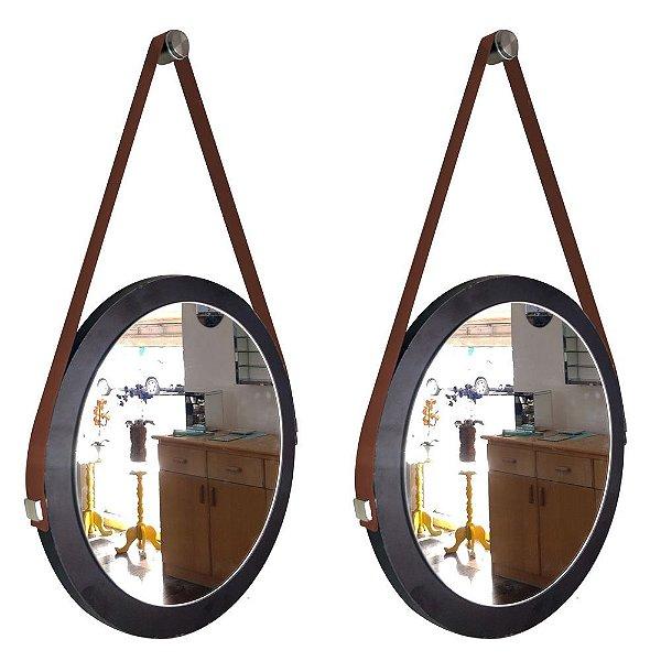 Kit 2 espelhos Adnet Decorativo Redondo de Parede com Alça de Couro Diâmetro 28 cm preto e marrom