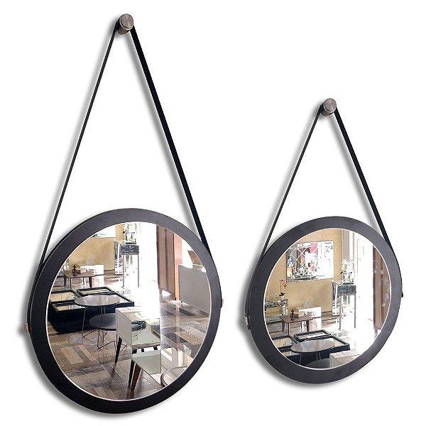 Kit 2 espelhos Adnet Decorativo Redondo de Parede com Alça de Couro Diâmetro 38 e 28 cm preto