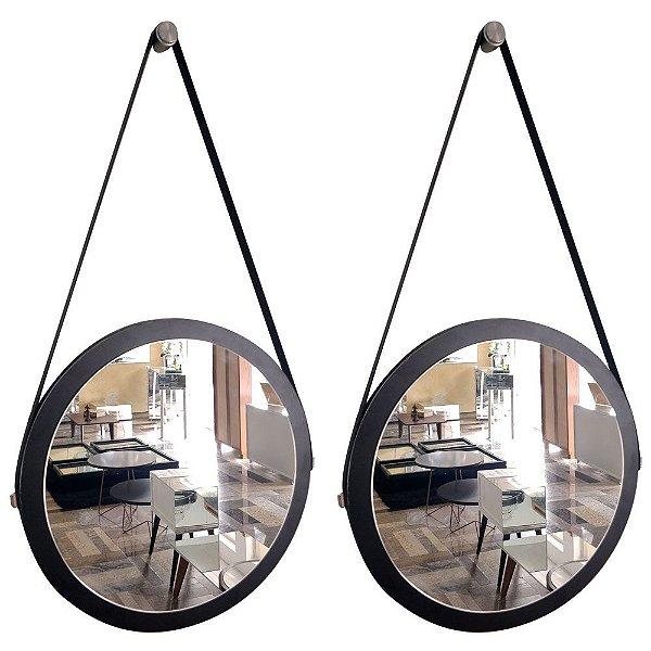 Kit 2 espelhos Adnet Decorativo Redondo de Parede com Alça de Couro Diâmetro 38 cm preto