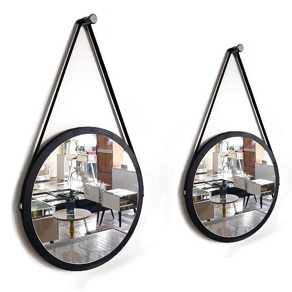 Kit 2 espelhos Adnet Decorativo Redondo de Parede com Alça de Couro Diâmetro 48 e 38 cm preto
