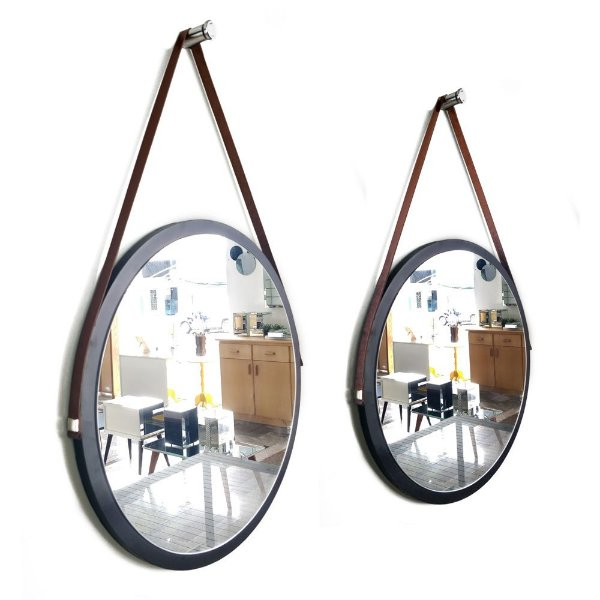 Kit 2 espelhos Adnet Decorativo Redondo de Parede com Alça de Couro Diâmetro 48 e 38 cm preto e marrom