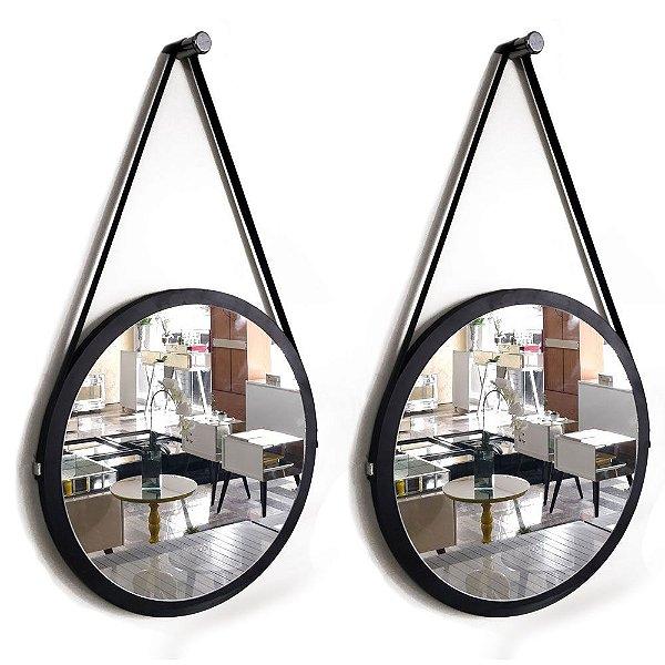 Kit 2 espelhos Adnet Decorativo Redondo de Parede com Alça de Couro Diâmetro 48 cm preto