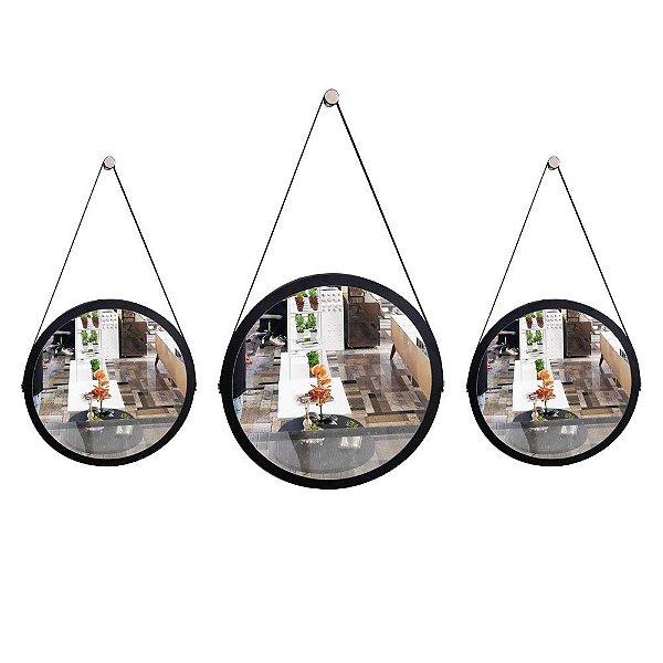 Kit 3 espelhos Adnet Decorativo Redondo de Parede com Alça de Couro Diâmetro 58 e 38 cm preto