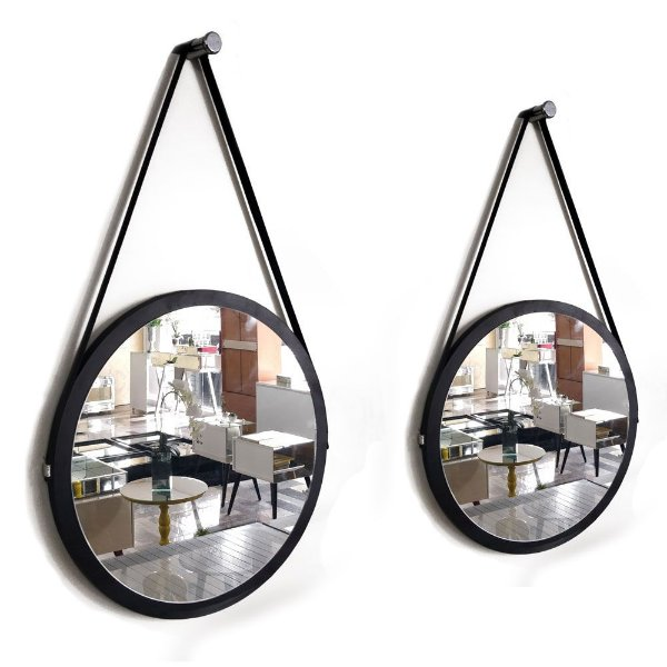 Kit 2 espelhos Adnet Decorativo Redondo de Parede com Alça de Couro Diâmetro 58 e 38 cm preto