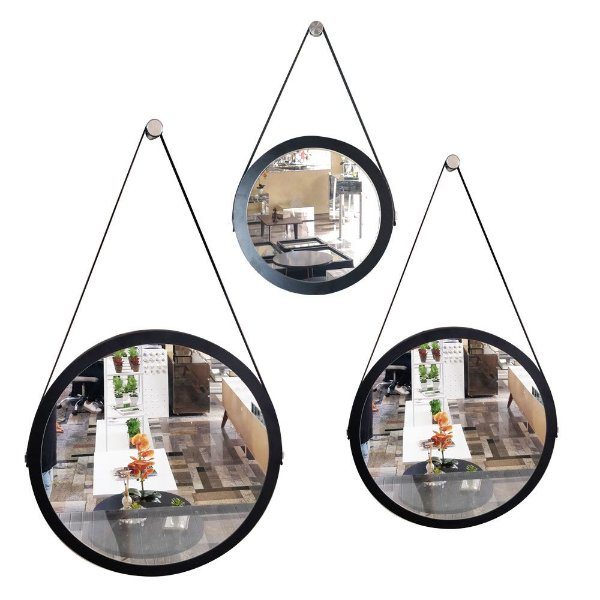 Kit 3 espelhos Adnet Decorativo Redondo de Parede com Alça de Couro Diâmetro 58 e 48 e 38 cm preto e marrom